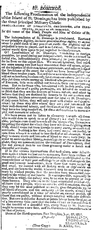 The Times, Monday, Feb 06, 1804; pg. 3; Issue 5938; col F St. Domingo. Category: News