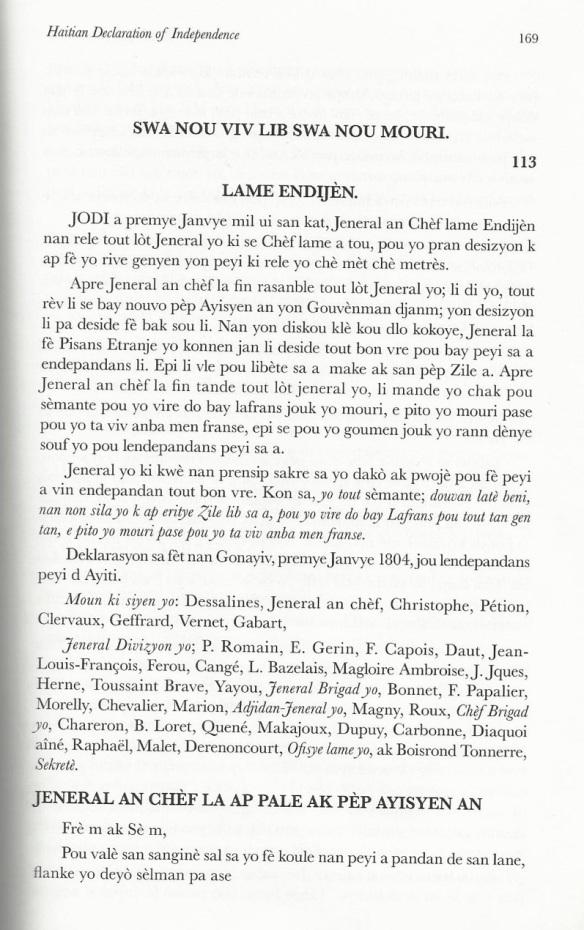 Traduction de L%27acte de l%27indépendance d%27Haïti en créole Haïtie_1