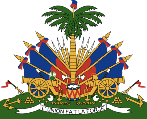 The current Haitian coat of arms, taken from Wikipedia.