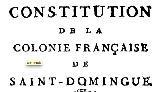 Louverture's 1801 constitution, original at the Boston Athenæum