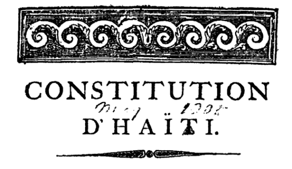 Dessalines's 1805 constitution, original at the American Philosophical Society, Philadelphia