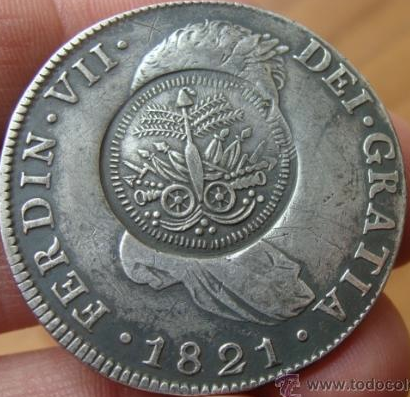 1821 Coin from Guatemala, later re-stamped in Haiti