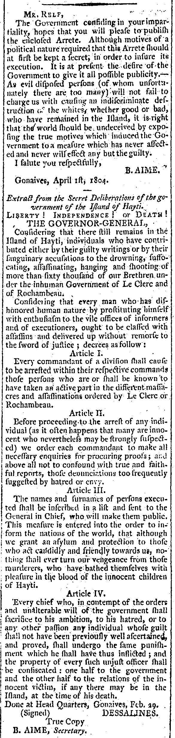 Dessalines Reader, 1 April 1804 (2)