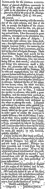 Dessalines Reader, Federal Gazette July 4, 1800