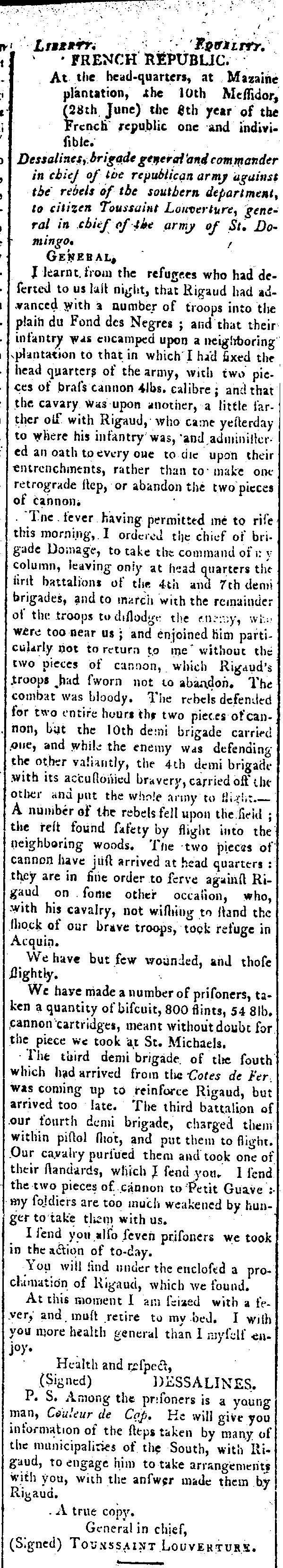 Dessalines, Telegraphe and Daily Advertiser, Baltimore.jpg